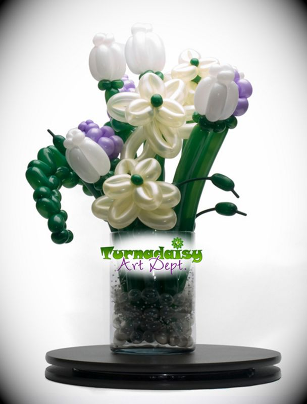 Elegant Balloon Flower Arrangement in Glass Vase TurnadaisyArtDept ...