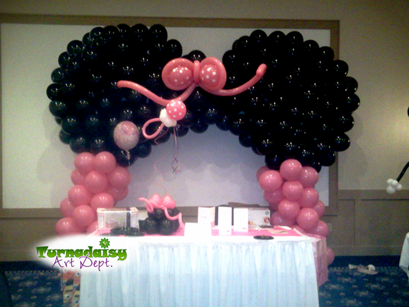 Balloon Minnie Mouse Theme Arch And Polka Dot Balloon Pacifier