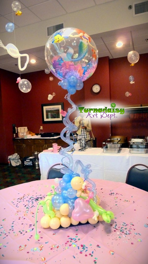 ariel themed baby shower large centerpiece for mom 39 s table with baby